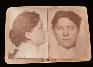 FOUND 1899  B&W PHOTO MUG SHOT OF WOMAN PROFILE/FACE - Ultra Rare!! *10