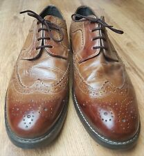 Easy 1973 Mens Tan Leather Brogue Style Shoes Size 9 Round Toes All Occasions