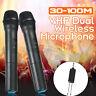 Dual Handheld Wireless Microphone 2x Mics w/Receiver, 30-100M Receiving Distance