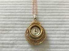 Swiss Made Keyes 17 Jewels Incabloc Mechanical Wind Up Necklace Pendant Watch