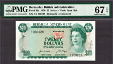 Bermuda 20 Dollars 1970 LOW Serial A/1 000228 Pick-26a SUPERB GEM UNC PMG 67 EPQ
