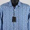 New $179 Bugatchi Classic Fit Fish Print Sport Shirt Mens S Small Blue Flip Cuff