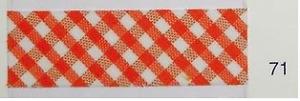 5m Schrägband mit Vichy-Karo 2mm orange-weiß-kariert 71