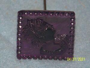 Beautiful Victorian Purple Glass Cameo Hat Pin Stick Pin