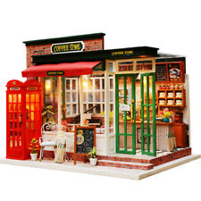 Coffee Home DIY Dollhouse Miniature House Furniture Kit Led Light Child Toy Gift