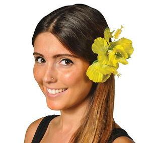 "LOT OF 6 HAWAIIAN HIBISCUS FLOWER HAIR CLIP 5.5"" LUAU BEACH FAST FREE SHIPPING"