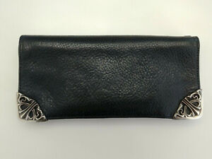 100% Authentic Chrome Hearts Large Black Leather Bifold Wallet w/ Silver accents