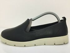 Ecco Black Leather Moccasin Loafers Casual Comfort Shoe Women Size UK 4.5