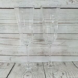 2 x vtg Luminarc OCTIME CLEAR glass champagne flutes 8¾in 22.2cm France