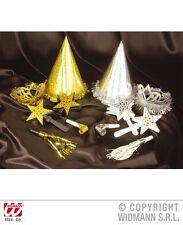 12 tlg.Silvester Party Set Hut, Krone,Tröten, Luftrüssel gold silber