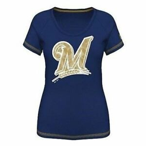 Milwaukee Brewers Bold Statement Women's Blue Shirt
