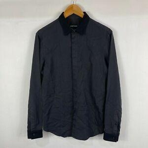 Emporio Armani Mens Button Up Shirt Medium Slim Black Long Sleeve Collared