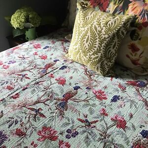 Queen Reversible Bird Print Bohemian Kantha Quilt. Anthropologie Bedroom Decor.