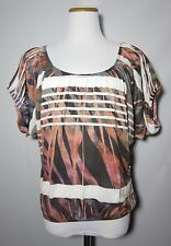 DAYTRIP Multi Color Print Batwing Tunic Top Size Small