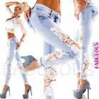 New Women's Slim Fit Skinny Leg Jeans Size 10 12 14 6 8 XS S M L XL Blue White