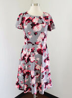 Eva Mendes for NY & Co Gray Red Pink Floral Fit & Flare Evening Dress Size 0