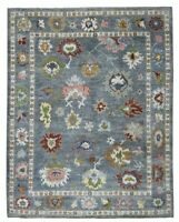 8x10 Oushak Fine Wool Rug Handknotted,Gray Blue,Greens,Red,Ivory Color1/2'Pile