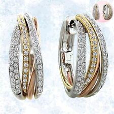 Earrings Gems Wedding White Ear Two Tone Hoop Dangle Gold Silver Studs Topaz 925