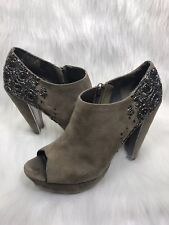 27362596ddc22f Sam Edelman Una 8.5 M Taupe Suede Beaded Peep Toe Platform Booties Shoes