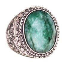 Sterling silver 925  Men ring, emerald natural  stone,  handmade