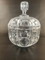 """Vintage Crystal Thumbprint Pattern Candy Dish With Lid 8"""" X 6"""""""