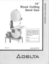 """Delta Rockwell 28-245 14"""" Wood Cutting Band Saw On Open Stand Instructions"""