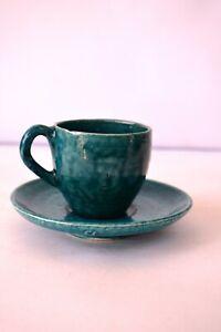"Vintage Tea Cup Saucer Earthen Handmade Mitti Terecotta Ceramic Green Porcela""F2"
