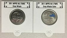 CANADA 2011 New 2 x 25 cent Orca Whale NO COLOR and COLOR (BU From roll)