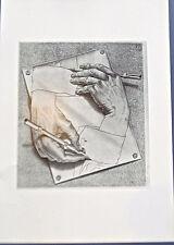 M C Escher Drawing Hands Beautiful Surrealism 16x11 Offset Litho 9 1/2X 8 1/2