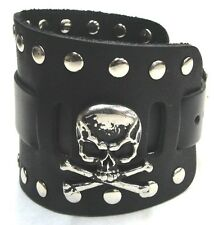 Wide Black Leather Watch Band With Skull and Crossbone Made in USA Buckled