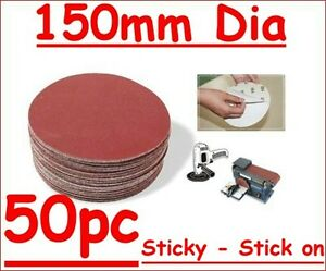 """150mm 6"""" Self Adhesive Sticky Discs 240 G 50pc Free Post"""