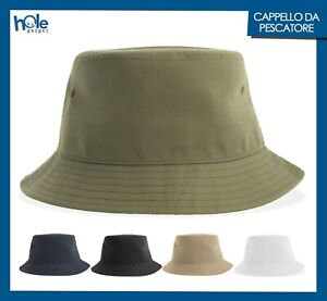 Cappello da Pescatore Bucket Hat Uomo Donna Cotone Caccia Pesca Estivo Nero