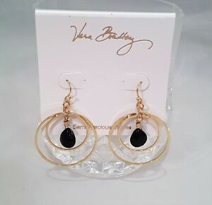 VERA BRADLEY SEMI PRECIOUS DOUBLE HOOP EARRINGS GOLD WITH BLACK