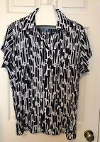 CJ Banks Womens Plus Size 3X Top Shirt Blouse Black White Crinkle Short Sleeve