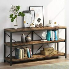 "Rustic Entryway Console Table Long Hallway Table 55"" 3-Tier Entertainment Center"