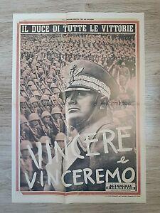 MANIFESTO WW2 IL DUCE DI TUTTE LE VITTORIE VINCERE VINCEREMO-2 GUERRA MONDIALE