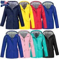 Women Waterproof Outdoor Hiking Windproof Rain Jacket Hooded Raincoat Outwear US