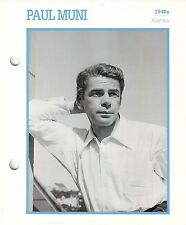 """Paul Muni 1940's Actor Movie Star Card Photo Front Biography on Back 6 x 7"""""""