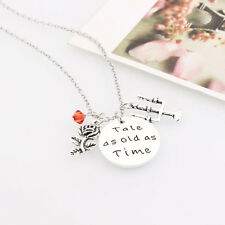 Tale As Old As Time Beauty and the Beast Necklace Rose flower Gift Pendant LMM