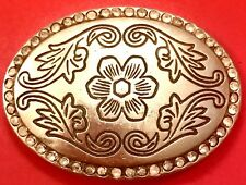 Vintage Belt Buckle Silver Flower Stamped Floral Antique Patina Leaf Leaves Vine