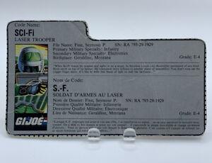 Vintage 1986 GI Joe Sci-Fi File Card Only ARAH Cobra French English