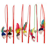 Faux Mouse Feather Dangle Fun Play Toy Rod Teaser Bell Pet Cat Kitten Kitty.UK