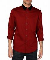 INC Mens Red Size 2XL Velvet Collar Button Down Long-Sleeve Shirt $69 007