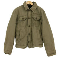 Hollister Mens Size Small Khaki Sherpa Lined Jacket Bomber Collared Vintage
