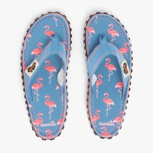Gumbies ISLANDER Ladies Womens Cotton Beachy Toe Post Flip Flops Blue/Flamingo