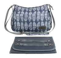 Gray Feather Diaper Bag Changing Pad Insulated Crossbody Stroller Strap Washable