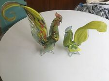 Set of (2) beautiful vintage Murano art glass Rooster sculptures