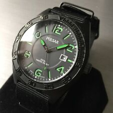 Mens Pulsar Watch By Seiko Green black Dial PS9317 NATO Strap Steel Genuine