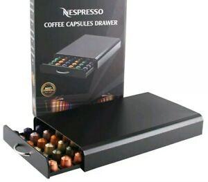 60 Nespresso Coffee Pods Capsules Holder Drawer Storage Black Machine Stand New