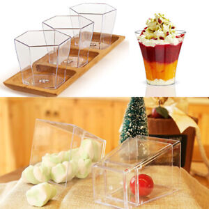 Clear Plastic Dessert Cups Shots Cheesecake Jelly Wedding Party 10/24/25/30Pcs